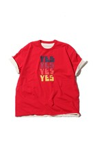 "Reversible Tshirt ""YES NO"" / red×offwhite"