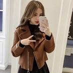 【outer】ショートコート折り襟スリムファッションレディースコート
