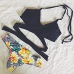 【送料無料◇即納】Bikini♡フラワーボトムクロスビキニ ブラック