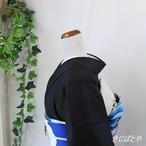正絹紬 黒地に深い青との市松 袷