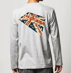 No.2020-welshcorgi-longts009  : 長袖Tシャツ 5.6oz  コーギーのユニオンジャック絨毯