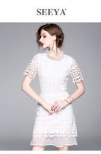 首回りの刺繍でネックレス要らず♪刺繍がラグジュアリーなシースルードレスワンピ