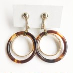 tortoise & gold circle earring[e-1076]