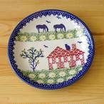 【再入荷】【新品】ポーランド食器 農場の風景 デザートプレート 17cm お皿 ポーリッシュポタリー T130-ALC86 陶器 Boleslawiec ボレスワヴィエツ陶器 ケーキ皿 中皿