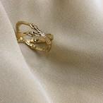 bone ring CROSS #01012  gold 骨クロスリング/ゴールド