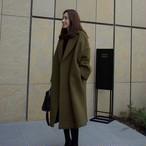 【outer】ロング丈暖かいゆったり折り襟気品あるミドル丈コート 15219575