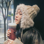 【送料無料】ポンポン × ファー ♡ 大人可愛い フェミニン カジュアル ボリューム あったか 耳あて ニット帽