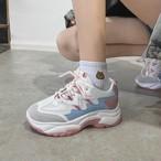 【shoes】キャンパスソリッドカラー合わせやすいPUパッチワーク厚底スニーカー14499821