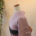 綿 紫苑に小花の浴衣
