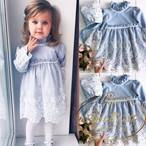80 90 100 110 120 赤ちゃん ベビードレス 長袖 かわいい 水色 レース オーガンジー