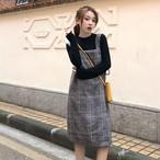 【dress】レトロチェック柄ストレートプルオーバー デートワンピ14653083