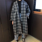 【outer】オーバーコートスーツ襟ゆったりチェック柄レディースコート