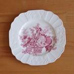 イギリス アンティーク 食器 陶器 ミヨット プリマス ピンク フルーツ柄 花柄 スクエアプレート ケーキ皿 20cm #201002-4 Myott Sons.&Co. Plymouth ヴィンテージ バスケット