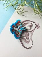 ARRO / 刺繍 / イヤークリップ / ピアス / MOTH / turquoise