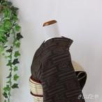 結城紬 鳶茶に総柄の織り小紋 袷