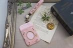 【卒入学祝い】刺繍のパスケース&ストラップセット・ピンク×かすみ草