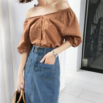 puff sleeve casual blouse 2532