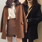 ウールコート レトロ キルティング加工 韓国ファッション レディース あったか コート アウター シングルブレスト ミディアム丈 DTC-605464007030