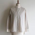 H.UNIT【 mens 】stripe bandcollar cleric shirts