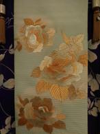 牡丹日本刺繍の絽丸帯 Maru summer obi sash (peony)