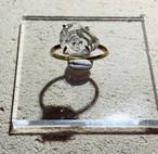 大粒ハーキマーダイヤモンドの真鍮槌目リング(13号)