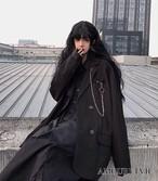 ジャケット ブレザー スーツ カジュアル 黒 ブラック チェーン アクセサリー 付き オルチャン 韓国ファッション 1120