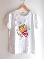ふわふわお花とビジューのポップコーンTシャツ ホワイト