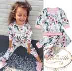 ルームウェア 花柄 こども かわいい スウェット セットアップ 冬 キッズ 子供服
