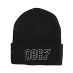 0867 / Knit Cuff Beanie / College / Logo / Black