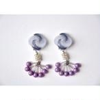 tiravisù【 twist bi-color button & purple czech beads _ earring 】handmade / イヤリング / japan