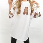 BIGシルエット レオパード レオパ柄 豹柄 バックロゴ Tシャツ ホワイト