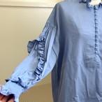【RehersalL】twill frill blouse(sax) /【リハーズオール】ツイルフリルブラウス(サックス)