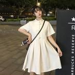 【送料無料】チャイナデザイン♡ ガーリーコーデ モノトーン 膝丈 Aライン ワンピース