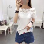 【tops】Tシャツボートネックレース半袖合わせやすい韓国系