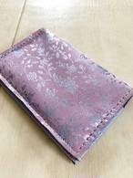 美しいガーデン箔押し カードケース 本革 レザー 名刺入れ パスケース ピンク シルバーガーデン箔押し