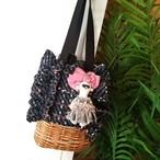 mimi☆フリル巾着バッグ☆ツイード ブラック