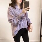 【tops】ストライプ柄ファッション感満々カジュアルシャツ 23712260