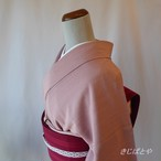 正絹 スモーキーピンクの無地 単衣