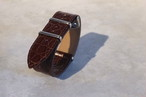 MIZORAH WATCHMAN 別注 オリジナル クロコ型押しレザーNATOストラップ ブラウン 20mm 腕時計ベルト