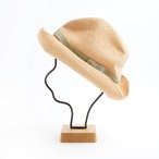 mature ha./BOXED HAT 401 raffia 11cm brim/natural×pale green double