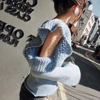 ニット ブルー フリル 肌見せ 袖コンシャス セクシー デート 女子会 レディース ファッション 韓国 オルチャン