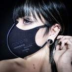 「stop corona mask」blak× purple プリント有り