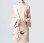 <即納>ピンク オープンショルダー フリルライン ミニドレス