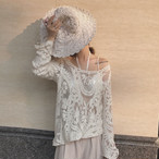 lace floral see through shirts 2271