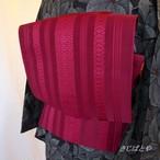 正絹 深い赤の博多紗献上なごや