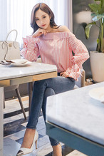 pink striped oblique collar shirts 1386