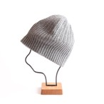 mature ha./long rib knit cap tiny rope lamb/medium grey