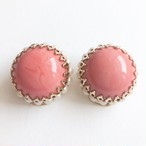 pink cabochon & pearl earring[e-1154]