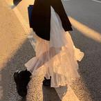 【送料無料】 旬なおしゃれスタイル♡ シアー ティアード ロング スカート 透け感 ふんわり メッシュスティッチ