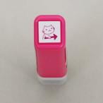 【こどものかお】スケジュールスタンプ浸透印「猫右・ピンク」